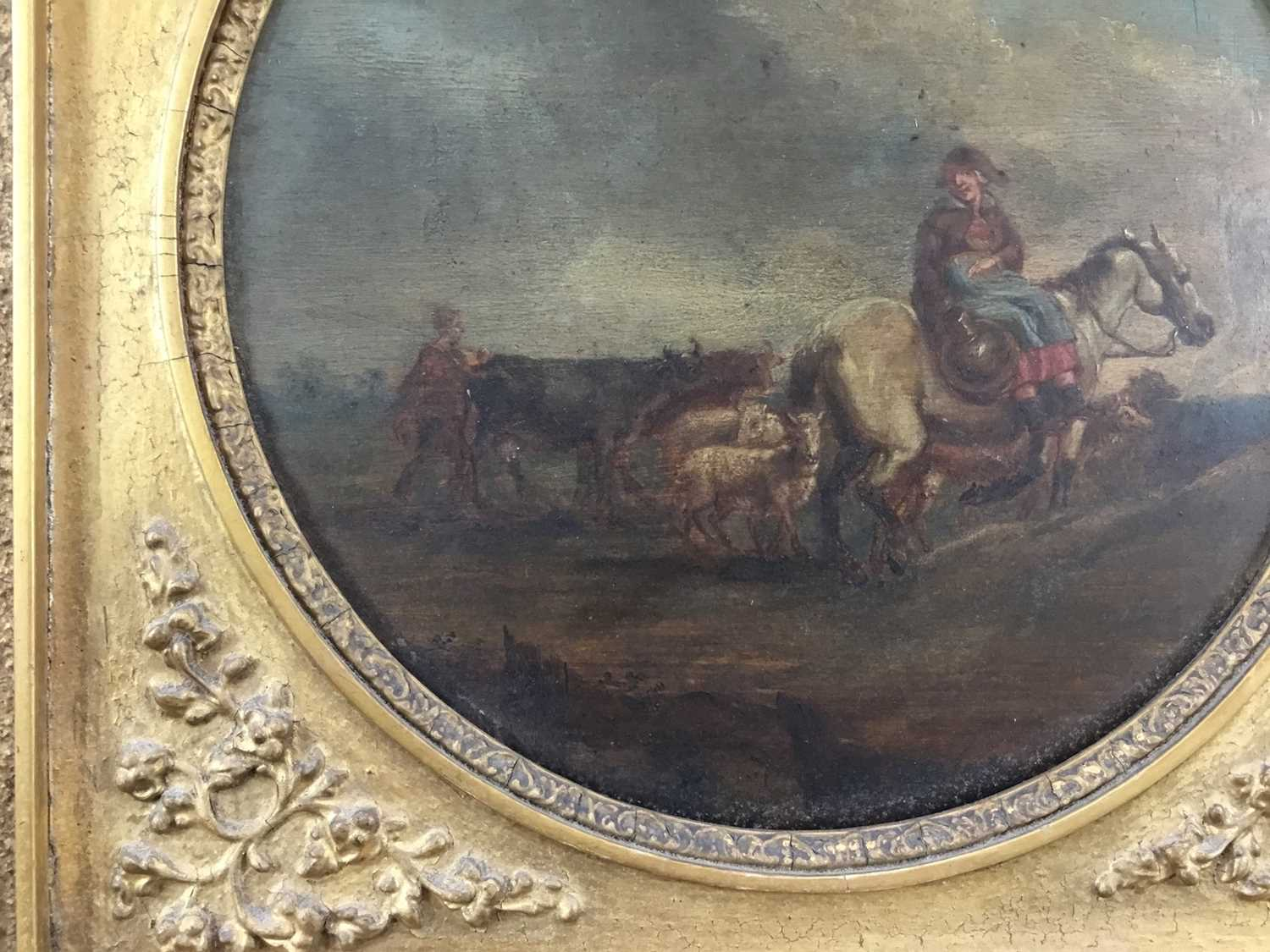17th/18th century Dutch School oil on panel, tondo - Going to Market, inscribed verso Camphuysen, in - Image 2 of 11
