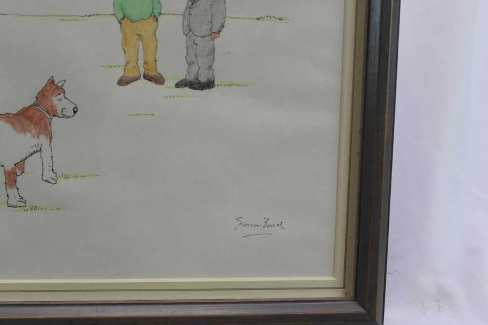 """Simon Bond (1947-2011) pen, ink and crayon cartoon - """"Is That Legal?"""", signed, in glazed frame Pro - Image 2 of 4"""
