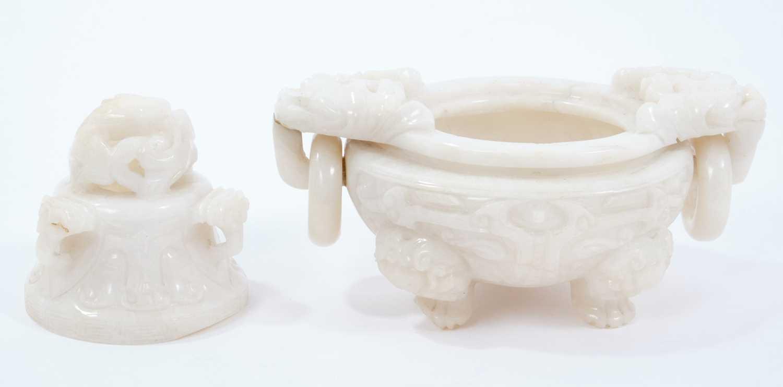 Chinese white jade censer - Image 2 of 3