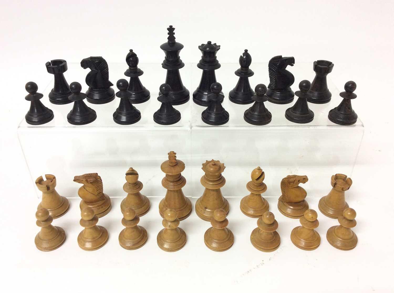 19th century boxwood and ebony chess set in mahogany box