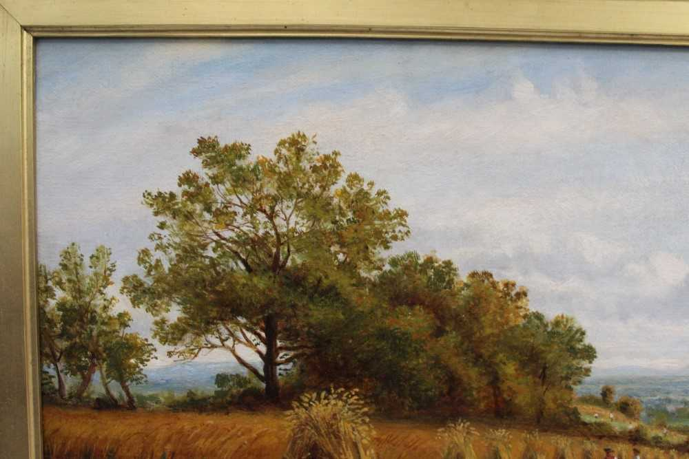 J Hughes - late 19th century oil on canvas in original gilt frame - Sunny Cornfield. 29cm x 44.5cm - Image 6 of 11