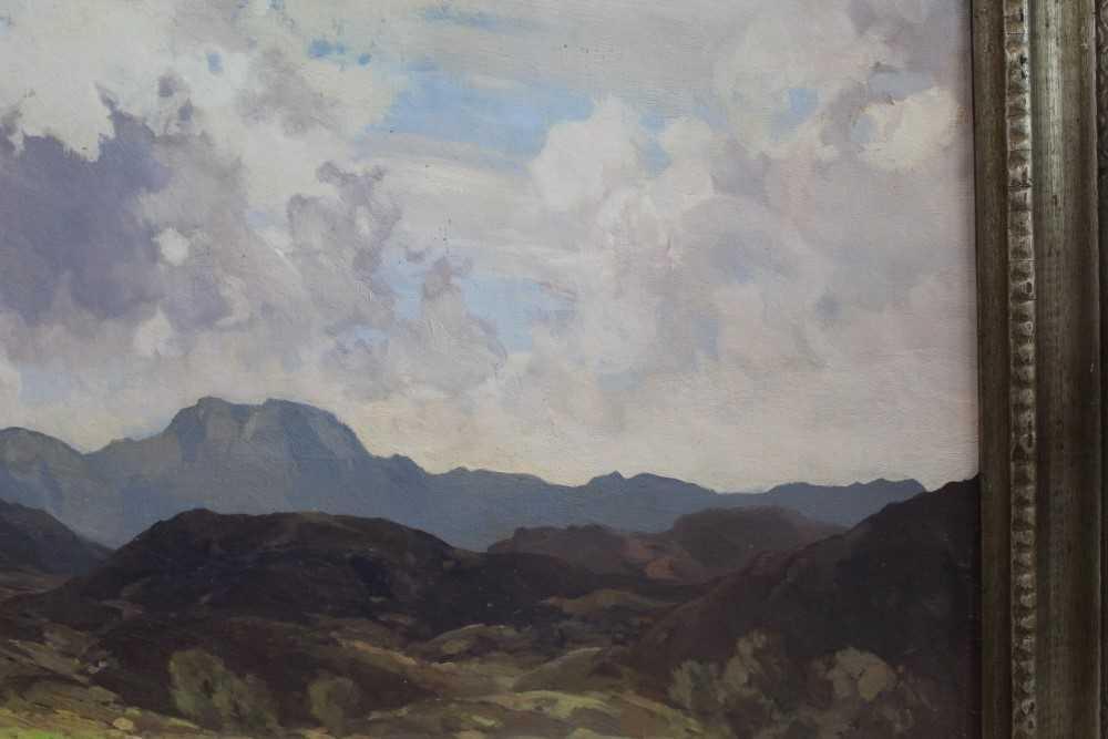 Lewis Taylor Gibb (1873-1945) oil on canvas - Extensive Scottish Landscape, signed, 63cm x 76cm, in - Image 4 of 14