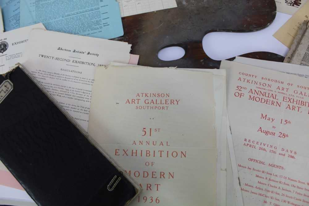 Lewis Taylor Gibb (1873-1945) wooden artists palette, together with assorted ephemera relating to th - Image 6 of 12