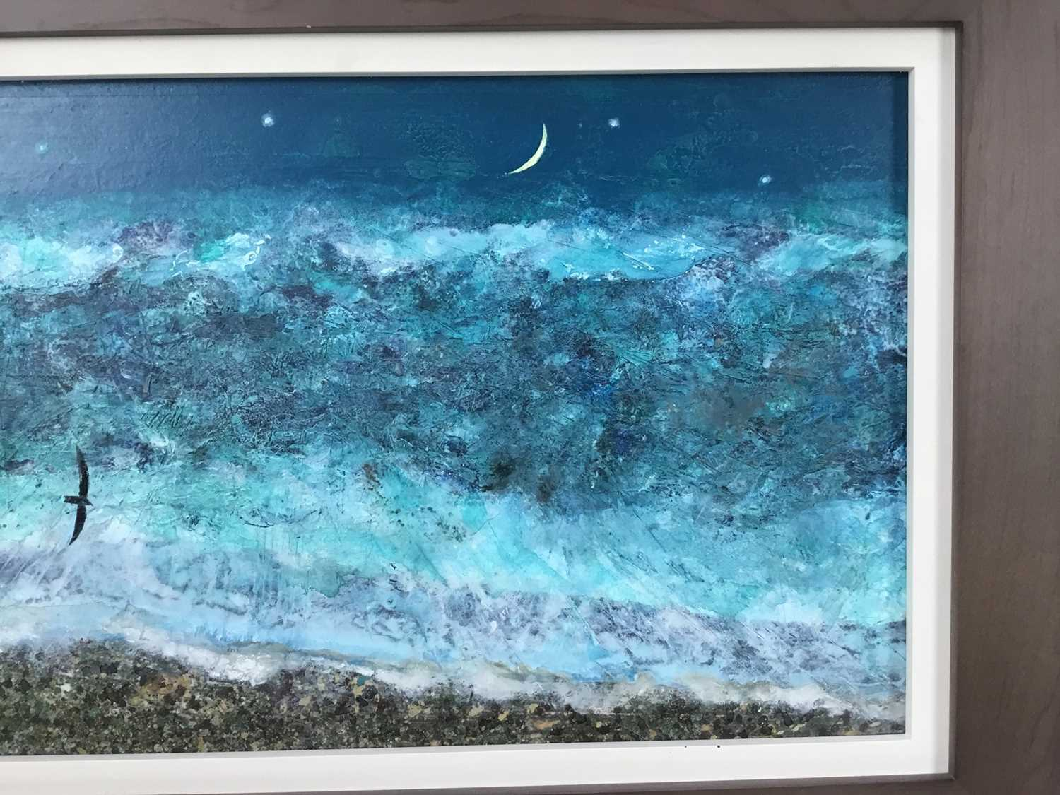 *Keith Grant (b.1930) acrylic on board - The Sea at Old Skagen with black Seabird and Crescent Moon, - Image 5 of 7