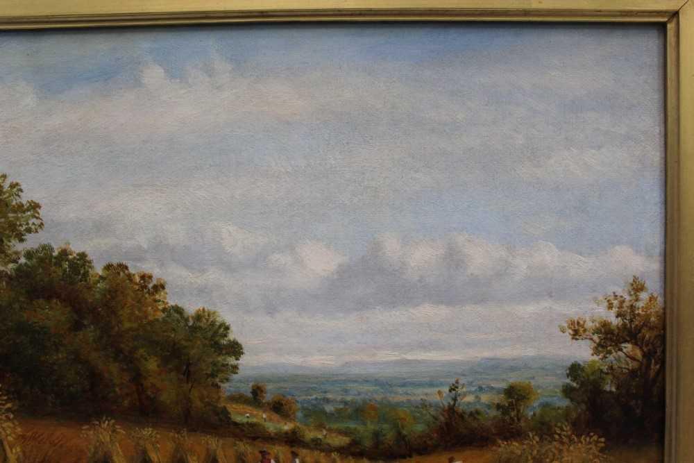 J Hughes - late 19th century oil on canvas in original gilt frame - Sunny Cornfield. 29cm x 44.5cm - Image 8 of 11