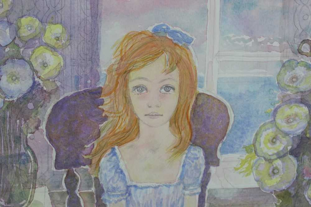 John Scorror O'Conner (1913-2004) watercolour, seated girl, signed. - Image 4 of 4