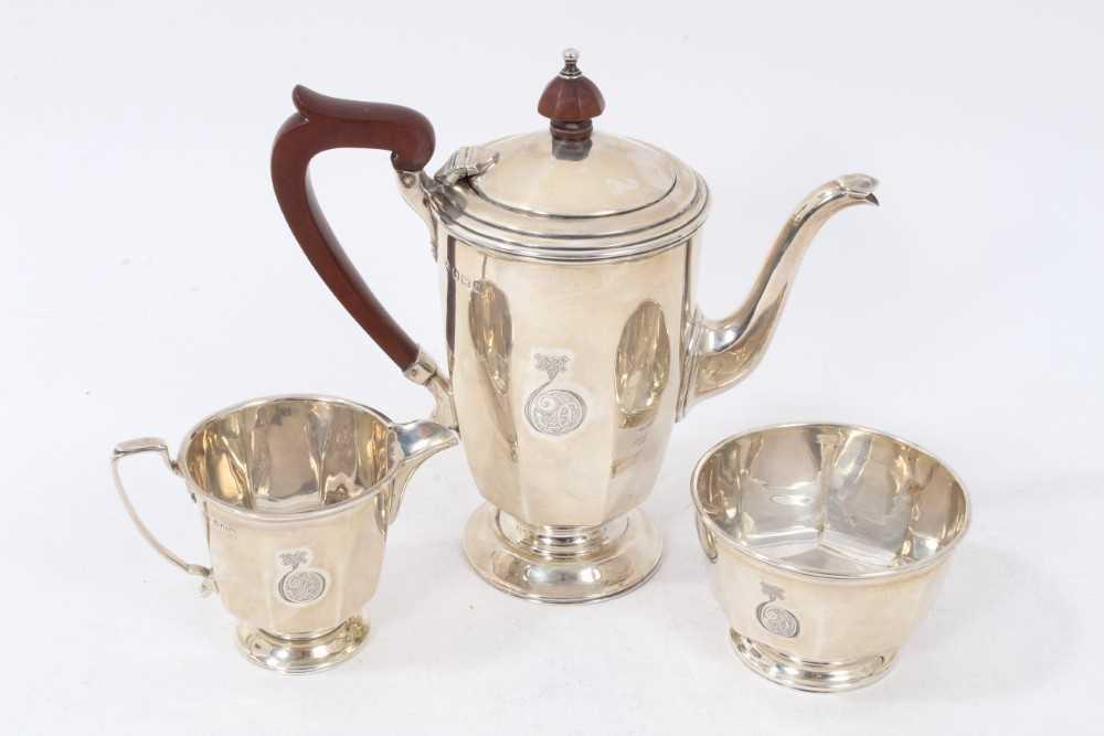 Three piece silver bachelors coffee set