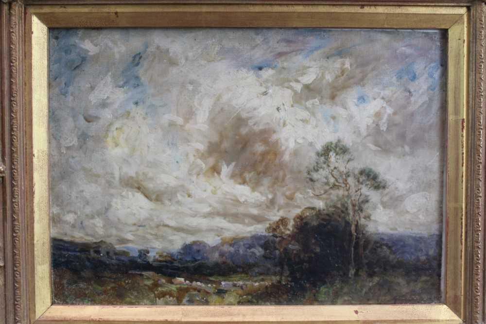Manner of John Constable, oil on canvas laid on board - Extensive Landscape, in glazed gilt frame