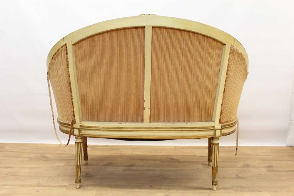 Late 19th / early 20th century French cream painted bergère suite - Image 5 of 16