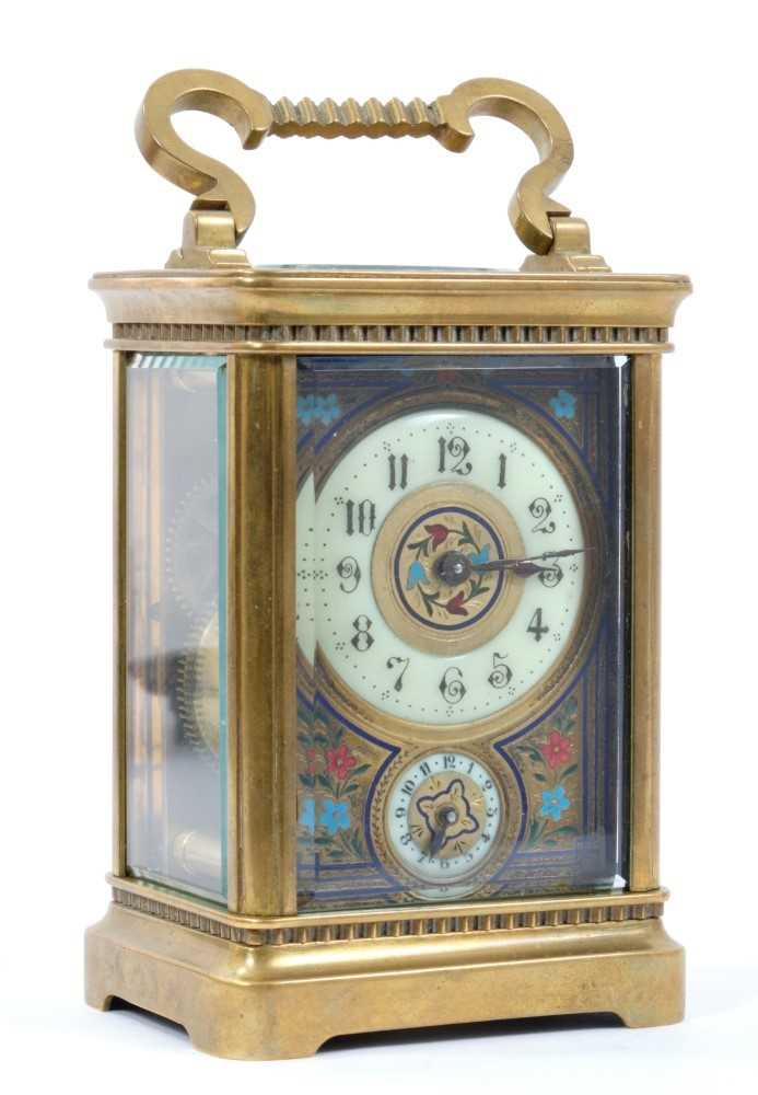 19th century French enamelled carriage clock with subsidiary alarm dial, striking on a bell, in case - Image 2 of 5