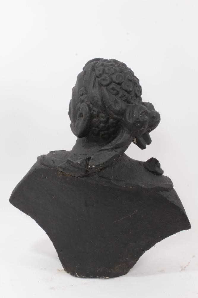 Rare pair of early carved stone niche busts of an African man and woman, pierced to underside of bas - Image 5 of 5