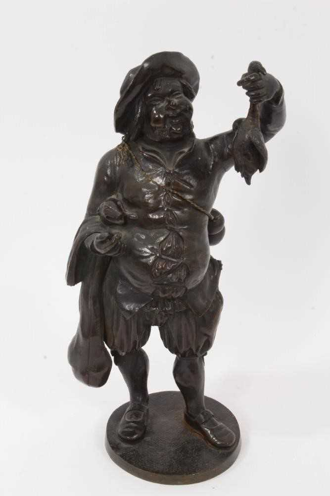 19th Century bronze figure of a game dealer