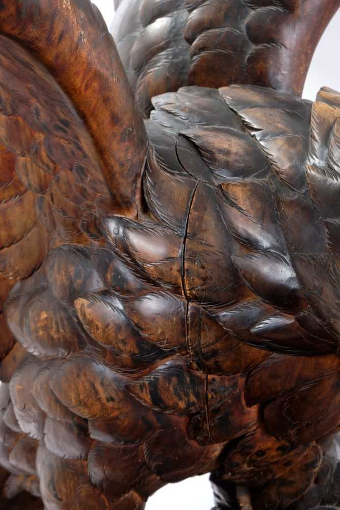 Exceptional late 19th / early 20th century Black Forest carved lindenwood figure of an eagle - Image 5 of 28