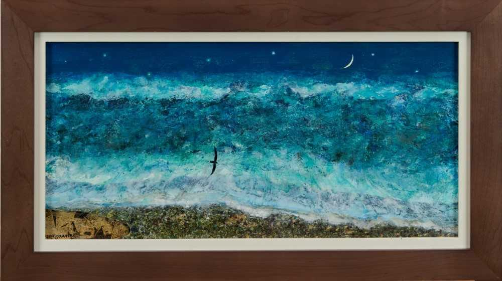 *Keith Grant (b.1930) acrylic on board - The Sea at Old Skagen with black Seabird and Crescent Moon,