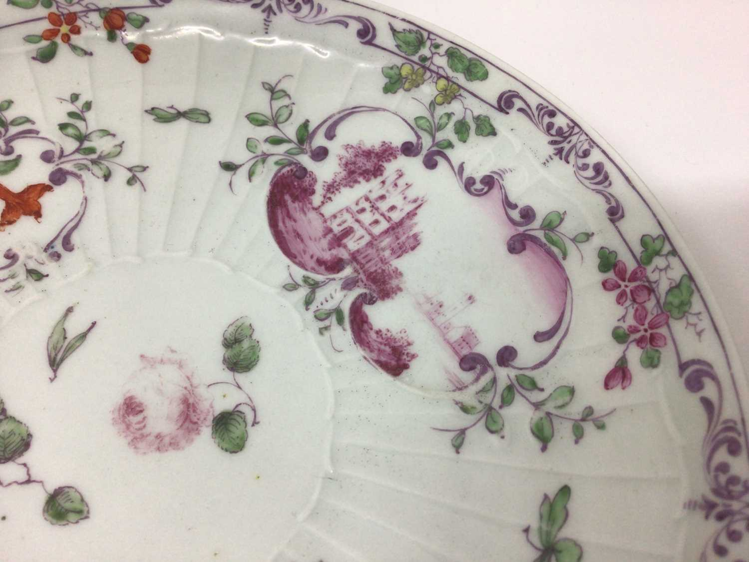 Worcester pleat-moulded saucer dish, circa 1756-58, painted in the Meissen style with puce landscape - Image 2 of 5