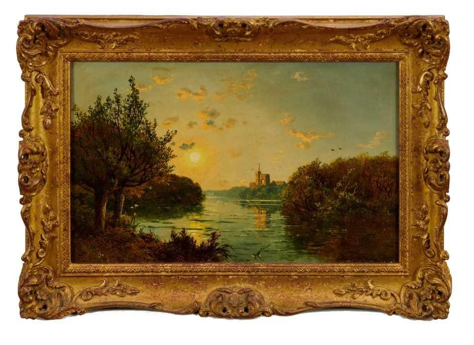 "Edmund John Niemann 1813 - 1876 ""On The River Wye"", oil on canvas, signed, in gilt frame, gallery"