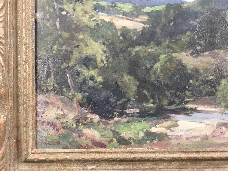 Lewis Taylor Gibb (1873-1945) oil on canvas - Extensive Landscape, signed, 39cm x 49cm, in gilt fram - Image 9 of 9