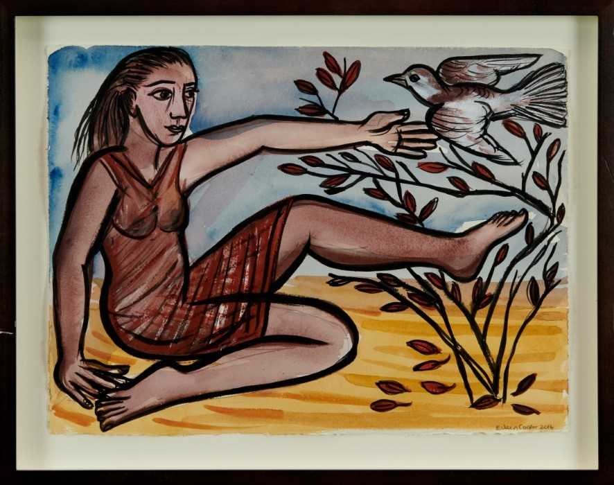 Eileen Cooper (b.1953) watercolour, ink and pastel - Dove 2016, signed, in glazed frame Provenance