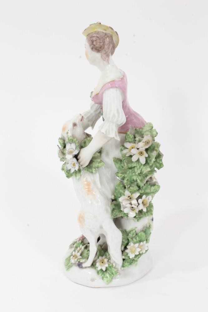 Derby figure of a shepherdess, circa 1760-65, polychrome and gilt decorated, shown garlanding a lamb - Image 2 of 9