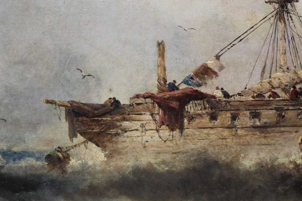 Manner of William Henry Williamson oil on canvas - shipping off the coast, in gilt frame - Image 25 of 27