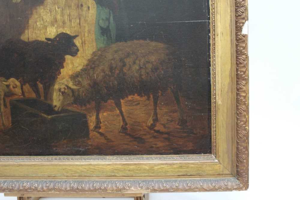 Louis Marie Dominique Robbe (1806-1887) oil on panel - sheep in a barn, signed, 41cm x 56cm, in gilt - Image 6 of 9