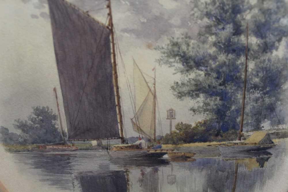 Stephen Batcheldar (1849-1932) pair of Broadland watercolours in oval frames - Image 3 of 8