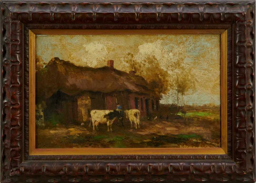 Willem G. F. Jansen (1871-1949) oil on canvas Figure and cattle in landscape