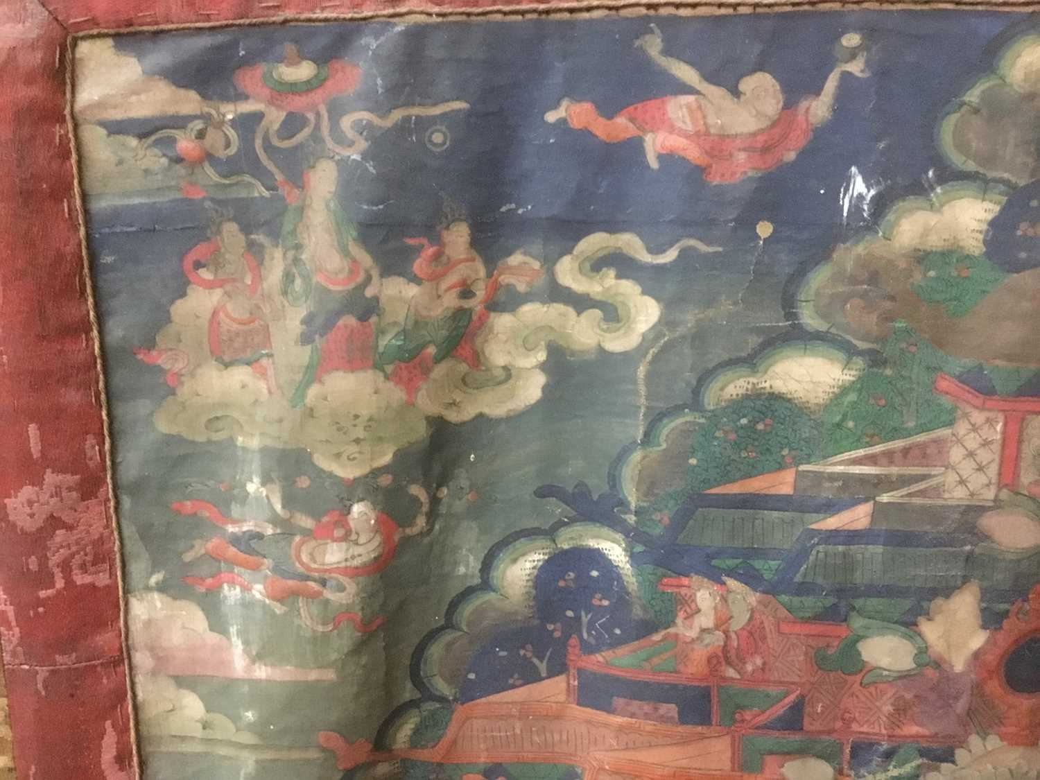 Early Tibetan thangka together with a related framed letter - Image 5 of 14