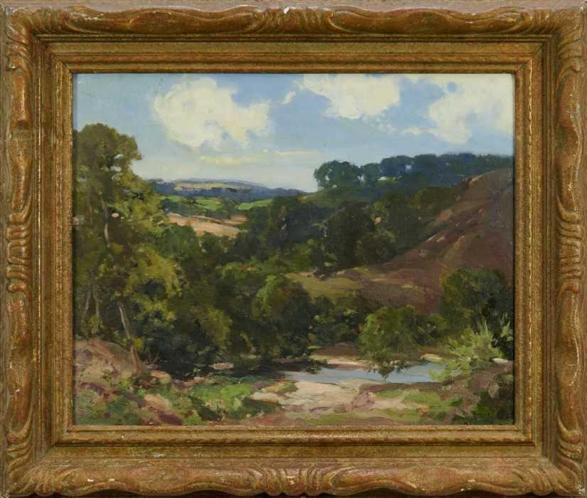Lewis Taylor Gibb (1873-1945) oil on canvas - Extensive Landscape, signed, 39cm x 49cm, in gilt fram