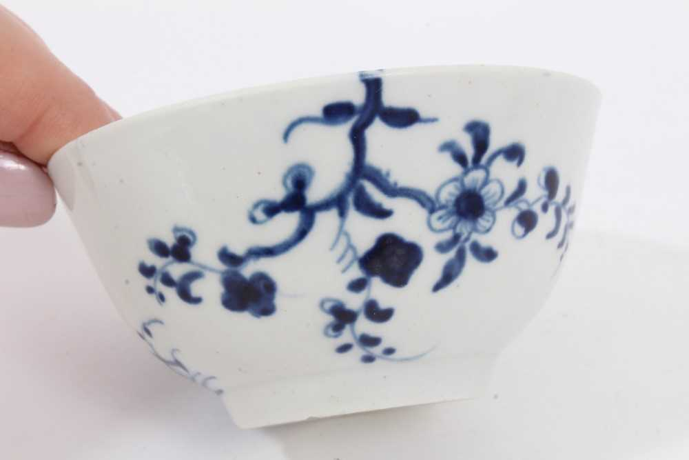 Worcester tea bowl and saucer, circa 1758, painted in blue with the Prunus Root pattern, together wi - Image 6 of 12