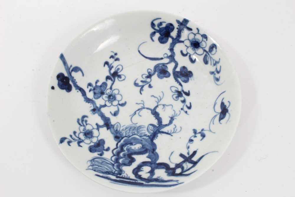 Worcester tea bowl and saucer, circa 1758, painted in blue with the Prunus Root pattern, together wi - Image 2 of 12