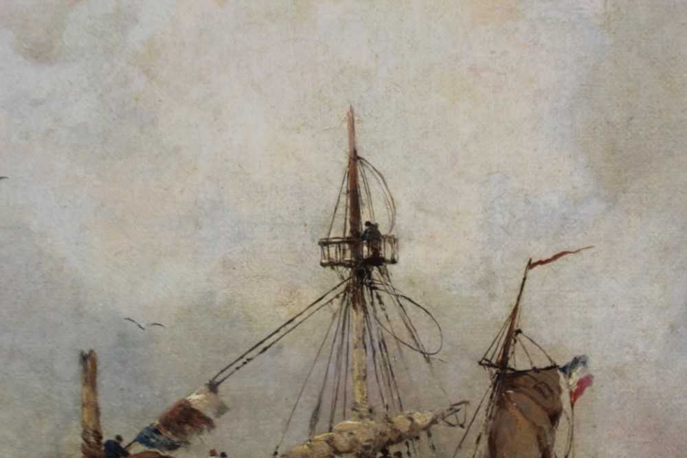 Manner of William Henry Williamson oil on canvas - shipping off the coast, in gilt frame - Image 26 of 27