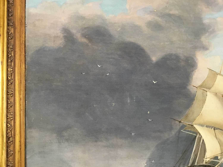 John Lynn (act.1826-1869) oil on canvas - British Frigate off Gibraltar, circa 1835, 49cm x 60cm, in - Image 7 of 15