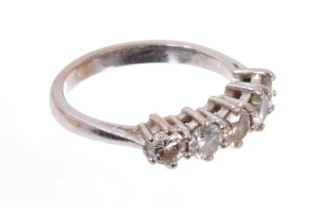 Diamond five stone ring with five brilliant cut diamonds in claw setting on 18ct white gold shank. E - Image 2 of 3