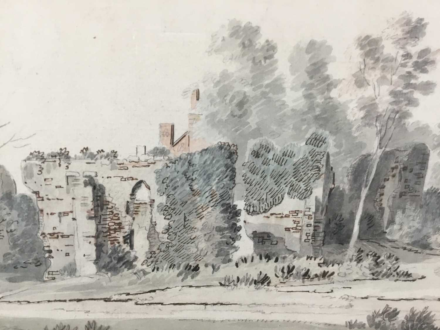 English School, early 18th century, monochrome pen, ink and watercolour - Castle Ruins, with mark fo - Image 6 of 8