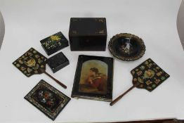 Collection of Victorian lacquered and papier mâché items, including a pair of decoupage fire screens