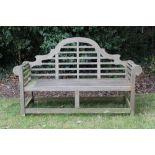Lutyens style teak garden bench