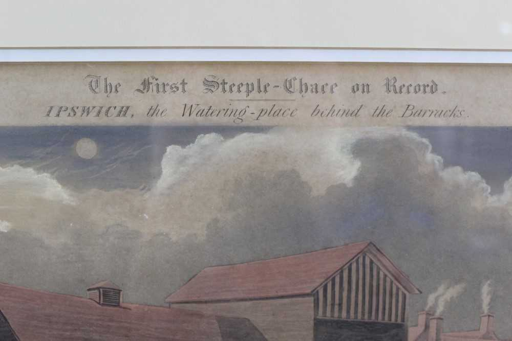 Henry Alken, set of four hand coloured engravings - First Steeple Chase on Record - Image 2 of 11