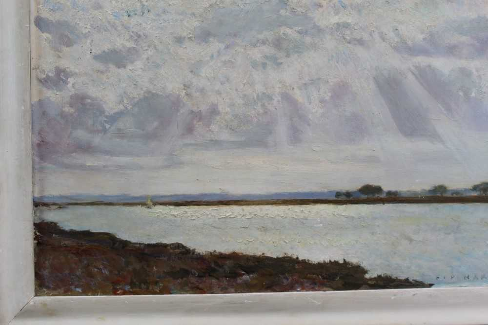 Fid Harnack oil on board, Strood Channel, signed and inscribed verso - Image 5 of 6