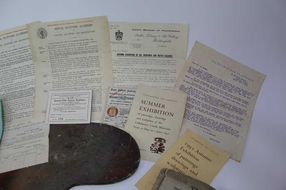 Lewis Taylor Gibb (1873-1945) wooden artists palette, together with assorted ephemera relating to th - Image 2 of 12