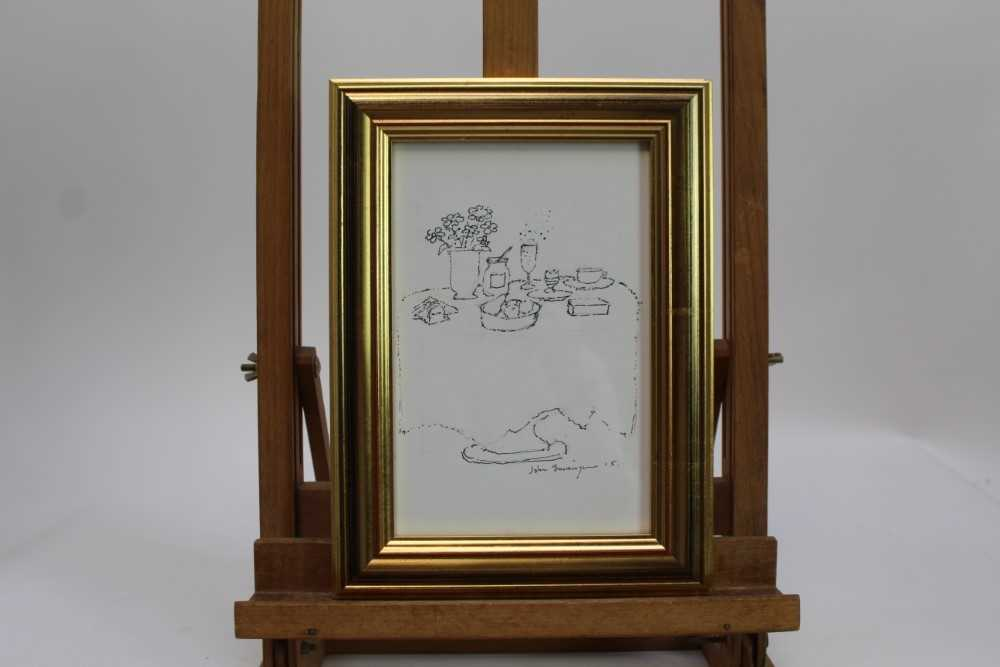 John Burningham (1936-2019) pen and ink sketch - Champagne with Noel Coward, signed and dated '15, i - Image 3 of 4