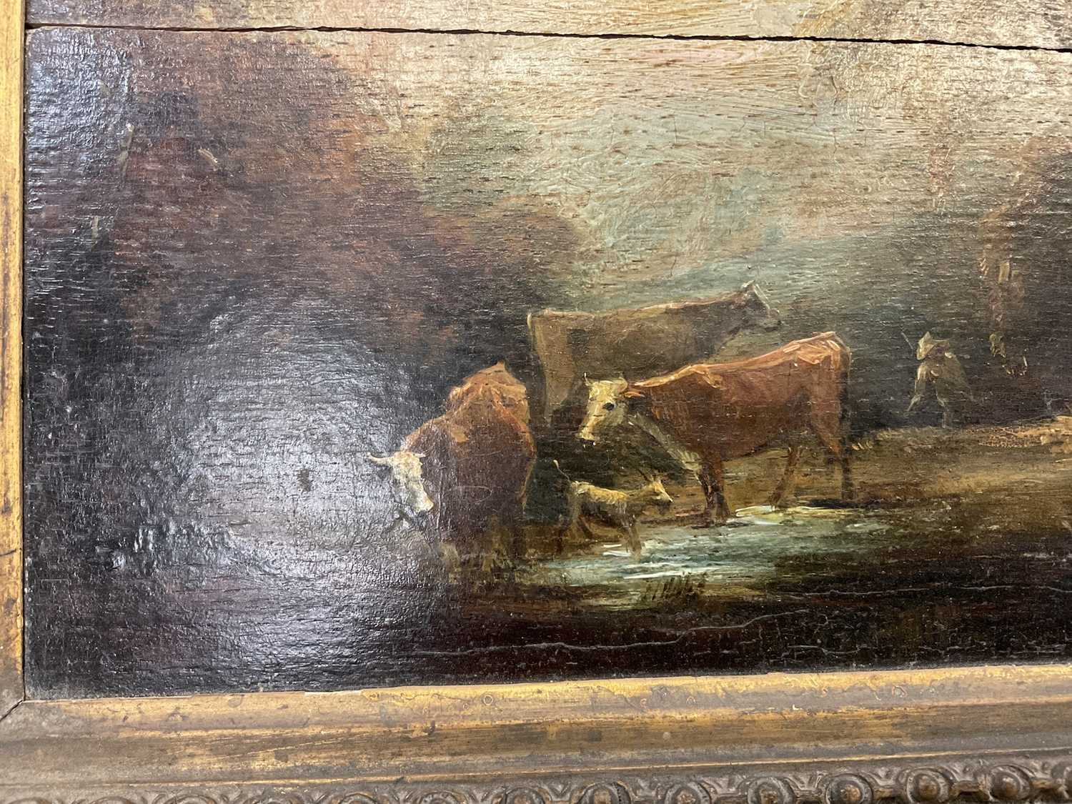 Manner of Thomas Gainsborough oil on panel - cattle and herders in landscape, in gilt frame - Image 8 of 15