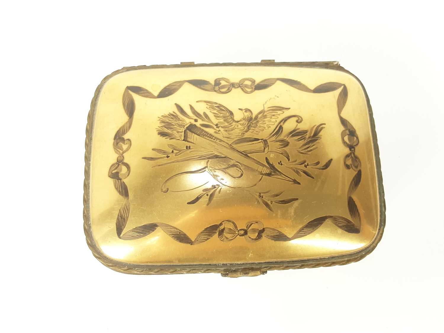 French ormolu-mounted porcelain box, late 19th century, probably Limoges, gilded and enamelled en gr - Image 5 of 7