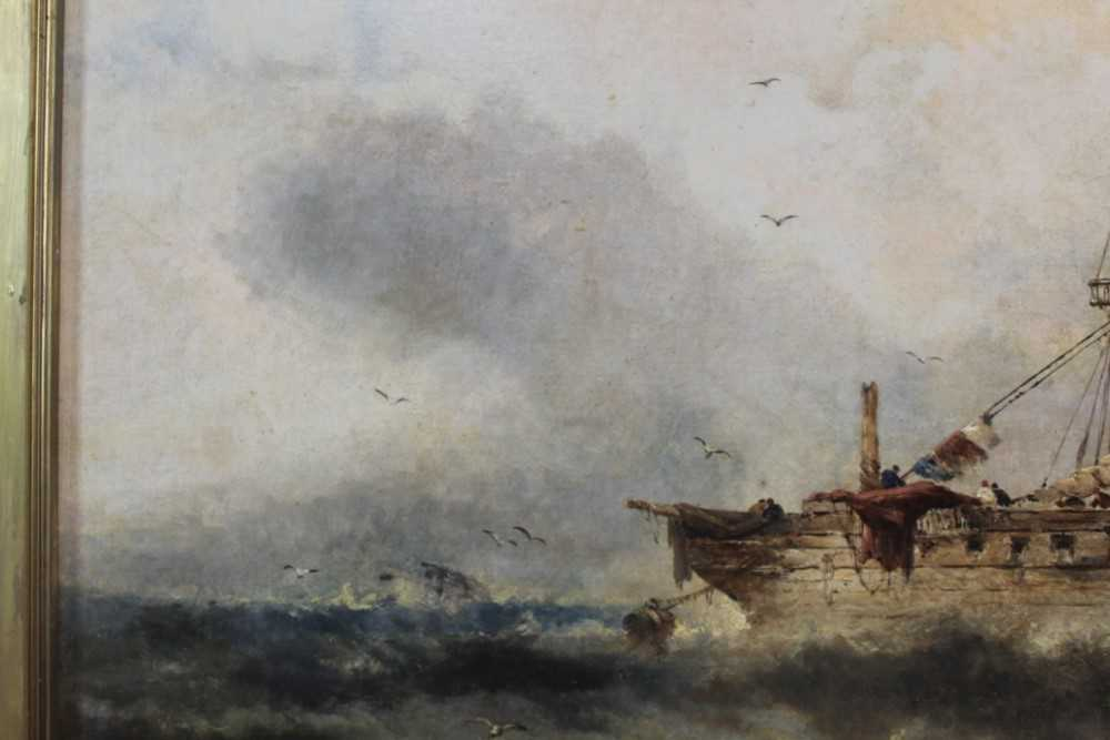 Manner of William Henry Williamson oil on canvas - shipping off the coast, in gilt frame - Image 20 of 27