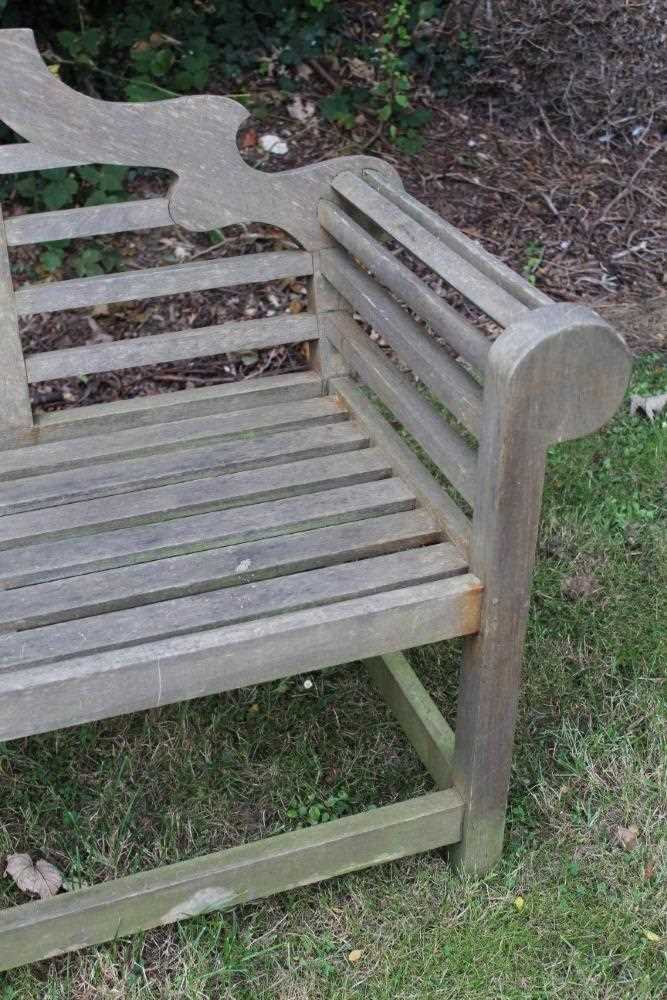 Lutyens style teak garden bench - Image 3 of 5