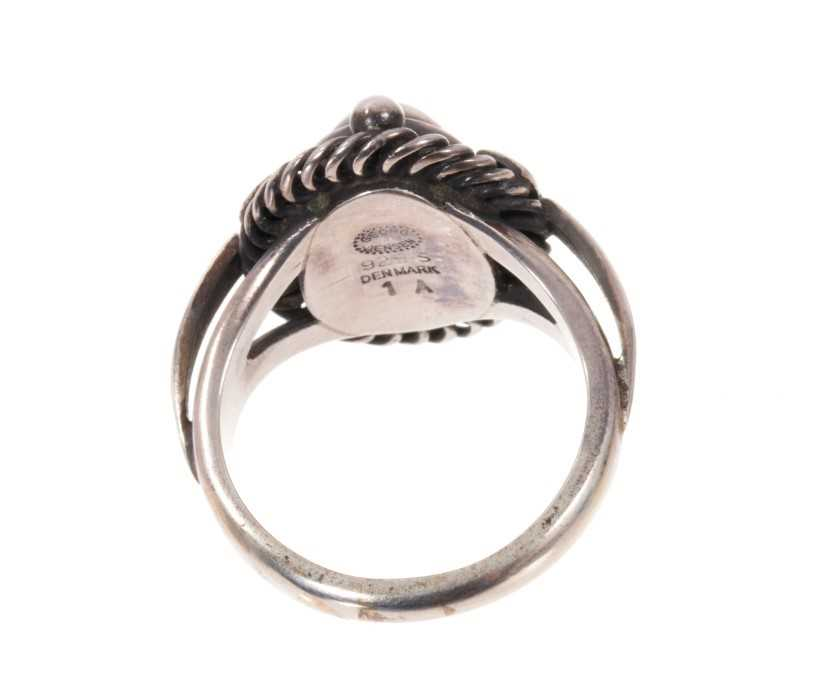 Georg Jensen silver 'moonlight blossom' dress ring with an cabochon silver centre in silver setting - Image 3 of 3