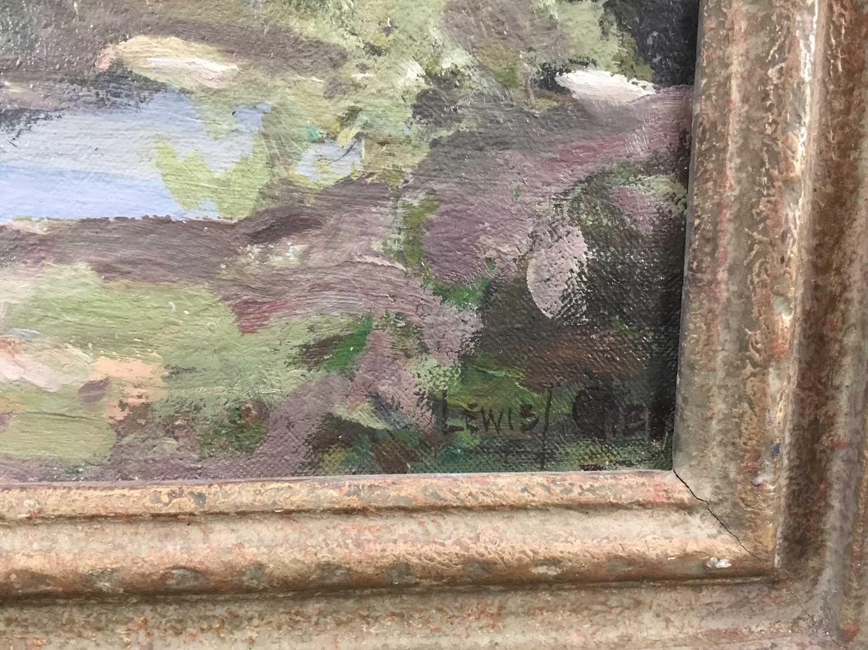 Lewis Taylor Gibb (1873-1945) oil on canvas - Extensive Landscape, signed, 39cm x 49cm, in gilt fram - Image 2 of 9