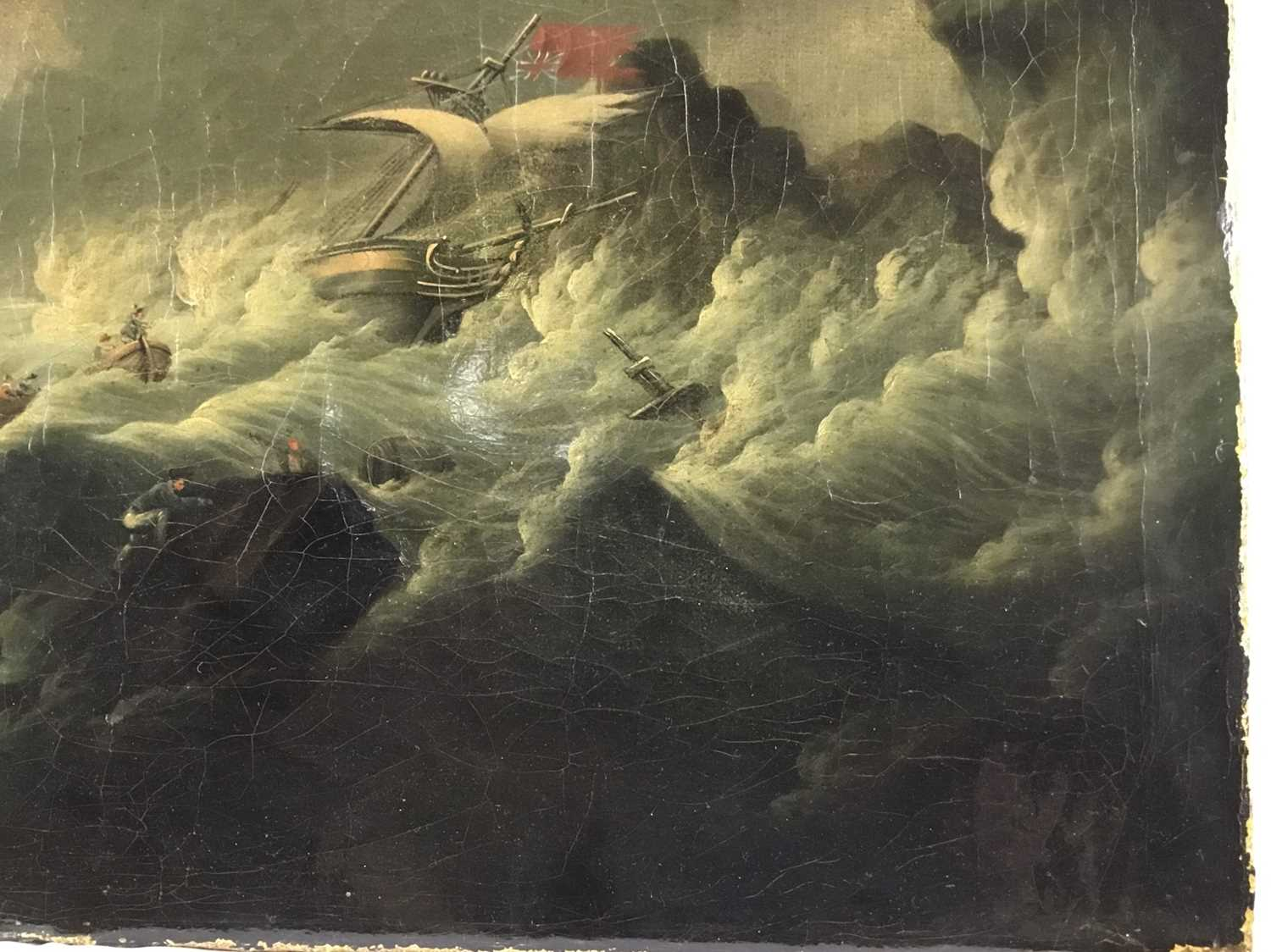 Attributed to Joseph Vernet (1714-1789) oil on canvas - shipping crashing against the rocks, 55cm x - Image 5 of 12