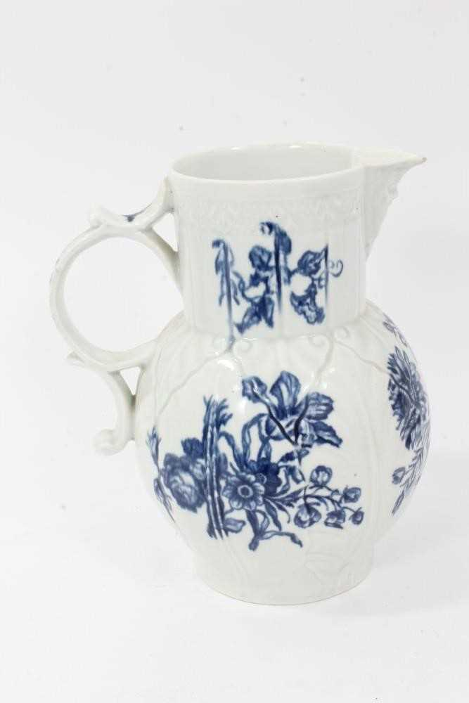 Worcester cabbage leaf moulded mask jug, circa 1770, decorated with flowers, 20cm high - Image 3 of 8