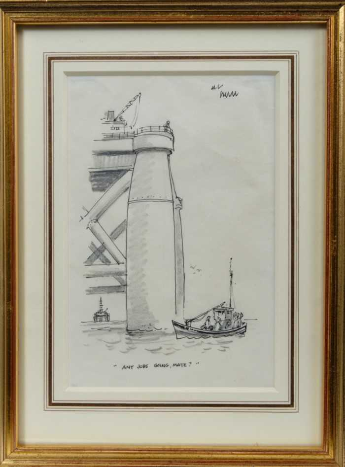 """*Norman Thelwell (1923-2004) pen, ink and pencil - """"Any Jobs Going Mate"""", in glazed gilt frame, 19cm"""